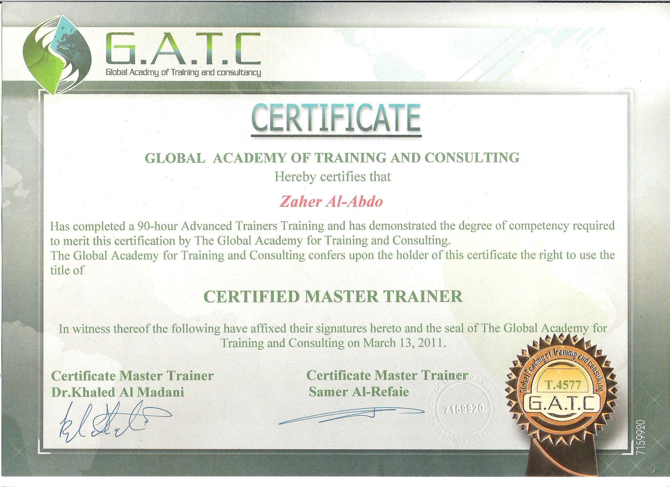 شهادات تدريب زاهر بشير العبدو zaher alabdo training certificates zaherabdo.com #zbabdo