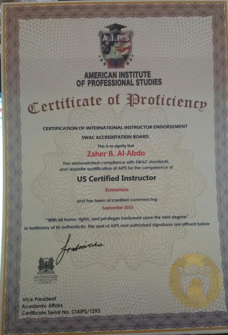 zaher alabdo certificate from American Institute of professional Studeis as US Certificated Instructor شهادة للباحث والمدرب زاهر بشير العبدو من المعهد الأمريكي للدراسات المهنية كمدرب معتمد وفق المعايير الامريكية @ZBABDO #zaherabdo